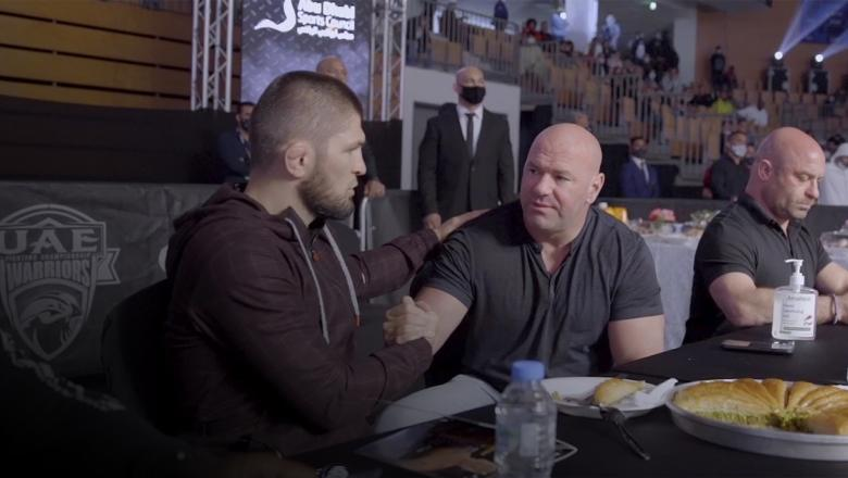Dana White & Khabib Meet At A Local MMA Event In UAE on Lookin' For a Fight