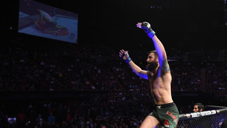 Michael Chiesa celebrates his submission victory over Carlos Condit in their welterweight bout during the UFC 232 event inside The Forum on December 29, 2018 in Inglewood, California. (Photo by Josh Hedges/Zuffa LLC/Zuffa LLC)