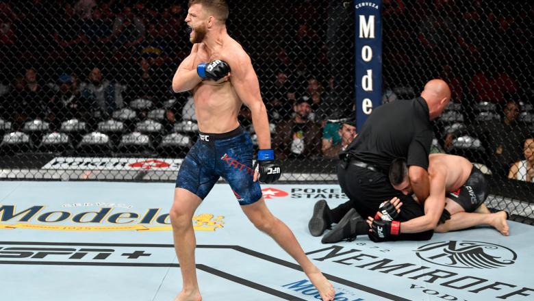 Calvin Kattar celebrates his KO victory over Ricardo Lamas in their featherweight bout during the UFC 238 event at the United Center on June 8, 2019 in Chicago, Illinois. (Photo by Jeff Bottari/Zuffa LLC)