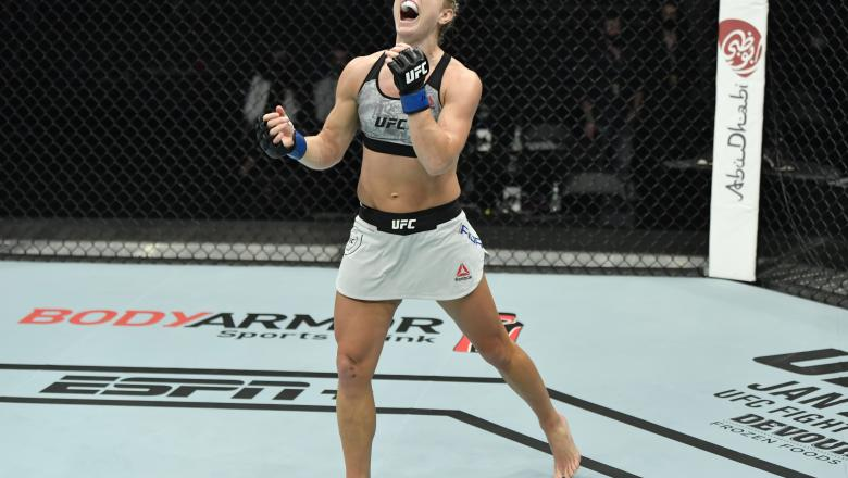 Manon Fiorot celebrates after her victory over Victoria Leonardo in a flyweight fight during the UFC Fight Night event at Etihad Arena on UFC Fight Island on January 20, 2021 in Abu Dhabi, United Arab Emirates. (Photo by Jeff Bottari/Zuffa LLC)
