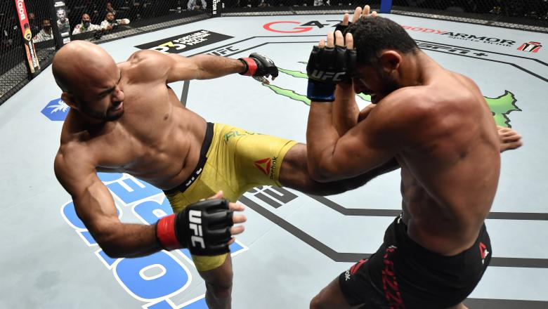 Warlley Alves of Brazil kicks Mounir Lazzez of Tunisia in a welterweight fight during the UFC Fight Night event at Etihad Arena on UFC Fight Island on January 20, 2021 in Abu Dhabi, United Arab Emirates. (Photo by Jeff Bottari/Zuffa LLC)