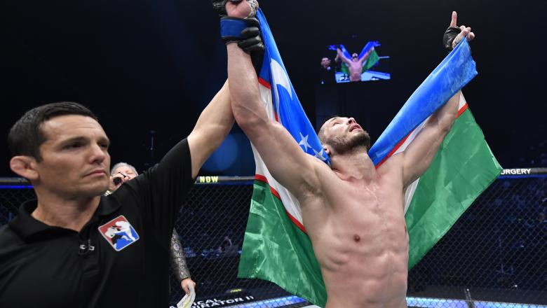 Makhmud Muradov of Uzbekistan reacts after his TKO victory over Andrew Sanchez in a middleweight fight during the UFC 257 event inside Etihad Arena on UFC Fight Island on January 23, 2021 in Abu Dhabi, United Arab Emirates. (Photo by Jeff Bottari/Zuffa LLC)