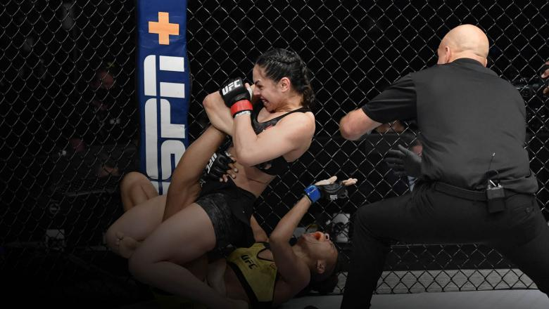 Ariane Lipski of Brazil secures a knee bar submission against Luana Carolina of Brazil in their flyweight bout during the UFC Fight Night event inside Flash Forum on UFC Fight Island on July 19, 2020 in Yas Island, Abu Dhabi, United Arab Emirates. (Photo by Jeff Bottari/Zuffa LLC)
