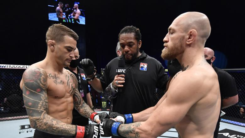 Opponents Dustin Poirier and Conor McGregor of Ireland face off prior to their lightweight fight during the UFC 257 event inside Etihad Arena on UFC Fight Island on January 23, 2021 in Abu Dhabi, United Arab Emirates. (Photo by Jeff Bottari/Zuffa LLC)
