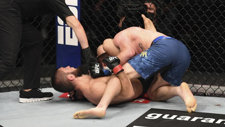 Khabib Nurmagomedov of Russia submits Justin Gaethje in their lightweight title bout during the UFC 254 event on October 25, 2020 on UFC Fight Island, Abu Dhabi, United Arab Emirates. (Photo by Josh Hedges/Zuffa LLC)
