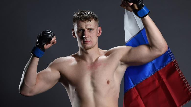 Alexander Volkov of Russia poses for a portrait backstage after his victory over Timothy Johnson during the UFC Fight Night at the SSE Arena on November 19, 2016 in Belfast, Northern Ireland. (Photo by Mike Roach/Zuffa LLC/Zuffa LLC)