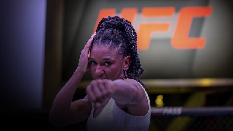 Angela Hill poses for a photo inside the UFC APEX (Photo by Nolan Walker/Zuffa LLC)