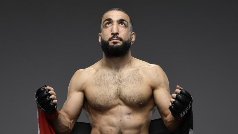 Belal Muhammad poses for a portrait after his victory during the UFC 258 event at UFC APEX on February 13, 2021 in Las Vegas, Nevada. (Photo by Mike Roach/Zuffa LLC)