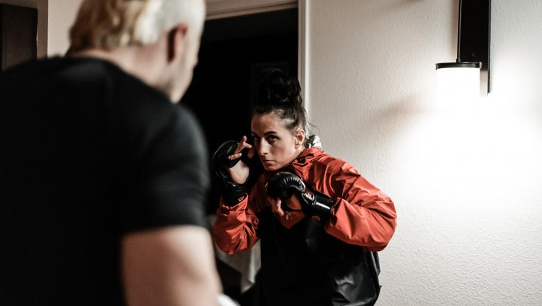 Flyweight Casey O'Neill prepares for her UFC debut ahead of UFC Fight Night: Blaydes vs Lewis in Las Vegas, Nevada. (Photo by McKenzie Pavacich)
