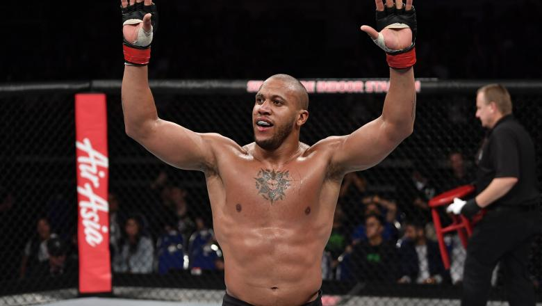 Ciryl Gane of France celebrates his submission victory over Don'Tale Mayes in their heavyweight bout during the UFC Fight Night event at Singapore Indoor Stadium on October 26, 2019 in Singapore. (Photo by Jeff Bottari/Zuffa LLC)