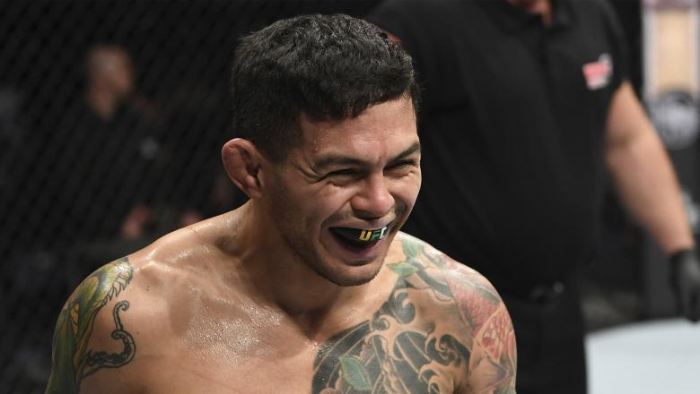 Diego Ferreira of Brazil reacts after the first round of his lightweight bout against Rustam Khabilov of Russia during the UFC Fight Night event at O2 Arena on February 23, 2019 (Photo by Jeff Bottari/Zuffa LLC)