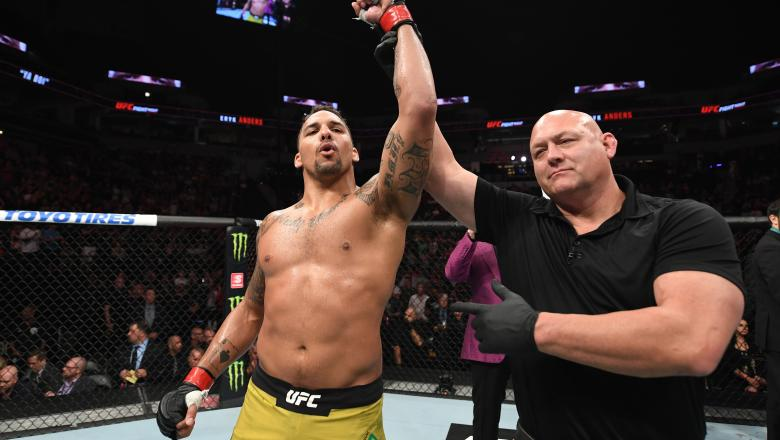 Eryk Anders celebrates after defeating Vinicius Moreira of Brazil in their light heavyweight bout during the UFC Fight Night event at the Target Center on June 29, 2019 in Minneapolis, Minnesota. (Photo by Josh Hedges/Zuffa LLC)