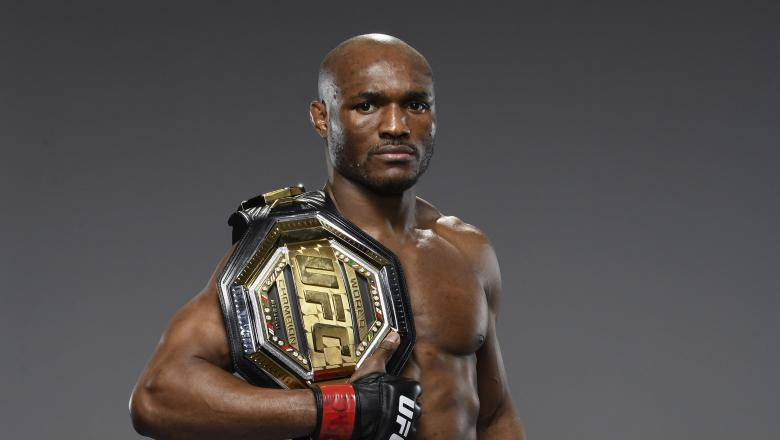 Kamaru Usman of Nigeria poses for a portrait after his victory during the UFC 258 event at UFC APEX on February 13, 2021 in Las Vegas, Nevada. (Photo by Mike Roach/Zuffa LLC)