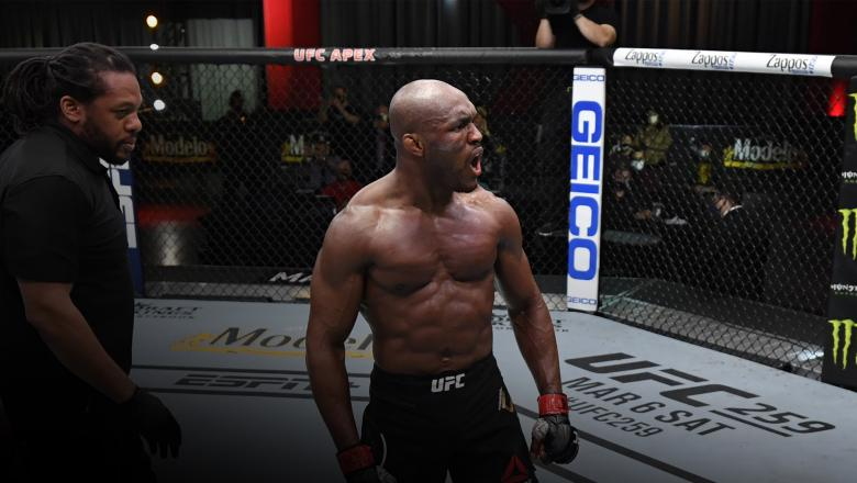Kamaru Usman of Nigeria reacts after his victory over Gilbert Burns of Brazil in their UFC welterweight championship fight during the UFC 258 event at UFC APEX on February 13, 2021 in Las Vegas, Nevada. (Photo by Jeff Bottari/Zuffa LLC)