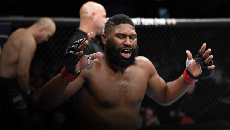 Curtis Blaydes reacts after landing an accidental low blow against Junior Dos Santos of Brazil in their heavyweight fight during the UFC Fight Night event at PNC Arena on January 25, 2020 in Raleigh, North Carolina. (Photo by Jeff Bottari/Zuffa LLC)