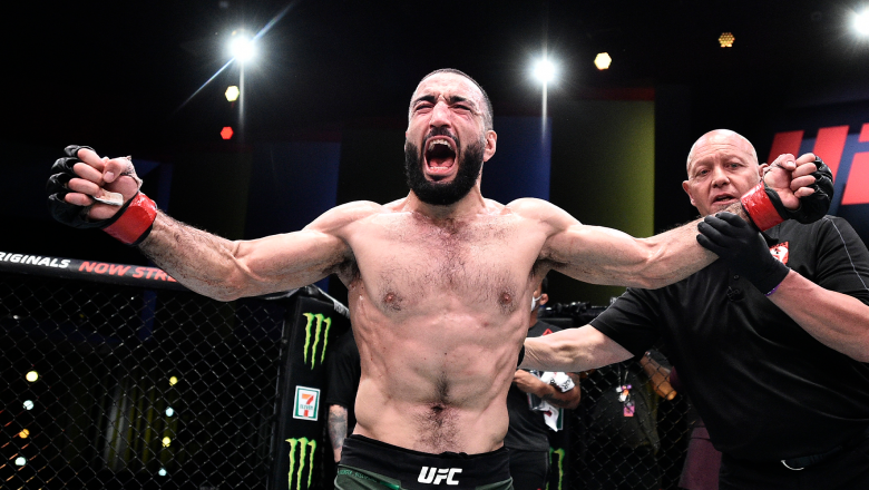Belal Muhammad celebrates after his decision victory over Lyman Good in their welterweight bout during the UFC Fight Night event at UFC APEX on June 20, 2020 in Las Vegas, Nevada. (Photo by Chris Unger/Zuffa LLC)