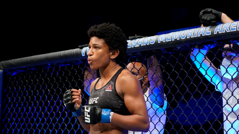 Angela Hill prepares to fight Claudia Gadelha in their strawweight fight during the UFC Fight Night event at VyStar Veterans Memorial Arena on May 16, 2020 in Jacksonville, Florida. (Photo by Cooper Neill/Zuffa LLC)