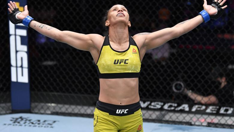 Amanda Lemos of Brazil reacts after her victory over Livinha Souza of Brazil in their strawweight fight during the UFC 259 event at UFC APEX on March 06, 2021 in Las Vegas, Nevada. (Photo by Jeff Bottari/Zuffa LLC)