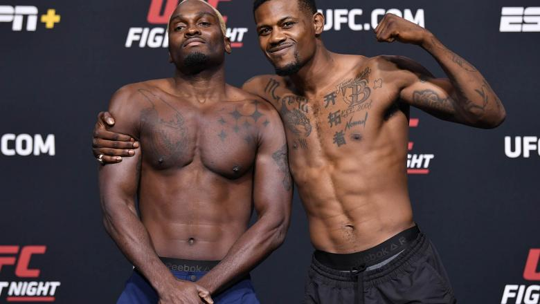 Opponents Derek Brunson and Kevin Holland pose for photos during the UFC weigh-in at UFC APEX on March 19, 2021 in Las Vegas, Nevada. (Photo by Chris Unger/Zuffa LLC via Getty Images)