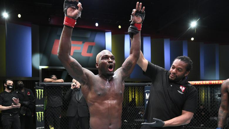 Derek Brunson reacts after his unanimous-decision victory over Kevin Holland in their middleweight fight during the UFC Fight Night event at UFC APEX on March 20, 2021 in Las Vegas, Nevada. (Photo by Chris Unger/Zuffa LLC)