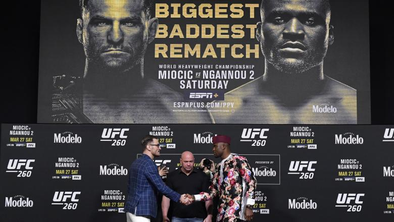 Stipe Miocic and Francis Ngannou of Cameroon face off during the UFC 260 press conference at UFC APEX on March 25, 2021 in Las Vegas, Nevada. (Photo by Jeff Bottari/Zuffa LLC)