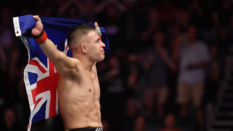Kai Kara-France of New Zealand reacts after the conclusion of his flyweight bout against Tyson Nam during the UFC Fight Night event at Spark Arena on February 23, 2020 in Auckland, New Zealand. (Photo by Jeff Bottari/Zuffa LLC)