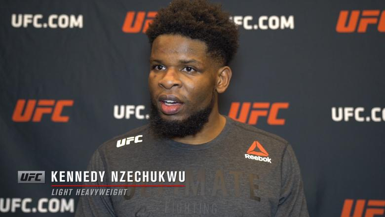 Kennedy Nzechukwu reacts with UFC.com after his second-round TKO victory over light heavyweight Carlos Ulberg at UFC 259: Blachowicz vs Adesanya on March 6, 2021.