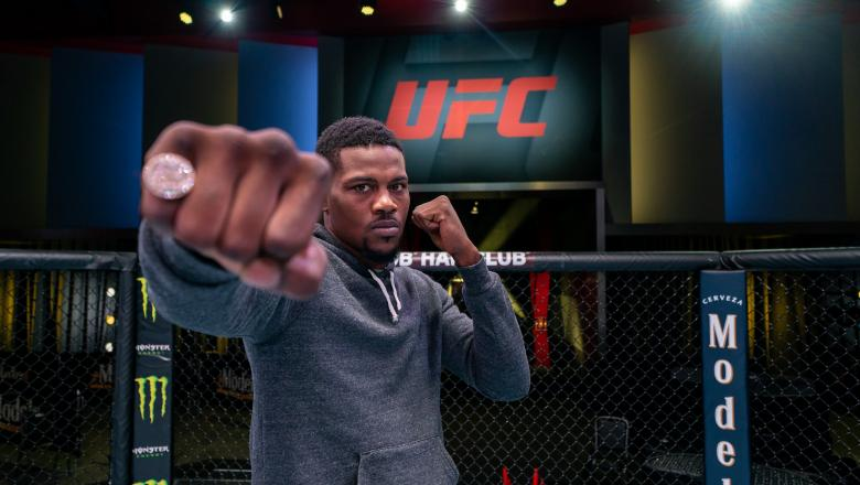 Kevin Holland poses for a picture inside the UFC APEX during UFC Fight Night: Brunson vs Holland media day (Nolan Walker/Zuffa LLC)