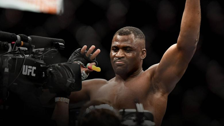 Francis Ngannou of Cameroon celebrates after defeating Jair Rozenstruik (not pictured) of Suriname in their Heavyweight fight during UFC 249 at VyStar Veterans Memorial Arena on May 09, 2020 in Jacksonville, Florida. (Photo by Douglas P. DeFelice/Getty Images)