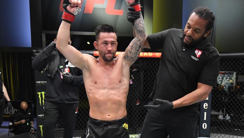 Pedro Munhoz of Brazil reacts after his victory over Jimmie Rivera in a bantamweight bout during the UFC Fight Night event at UFC APEX on February 27, 2021 in Las Vegas, Nevada. (Photo by Jeff Bottari/Zuffa LLC)