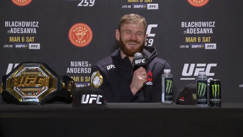 UFC Light Heavyweight Champion Jan Blachowicz Participates in a Post-fight Press Conference after His Victory at UFC 259: Blachowicz vs Adesanya on March 6, 2021.