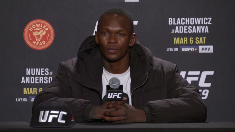 UFC Middleweight Champion Israel AdesanyaParticipates in a Post-fight Press Conference after His Loss In The LightHeavyweight Title Fight at UFC 259 on March 6, 2021.