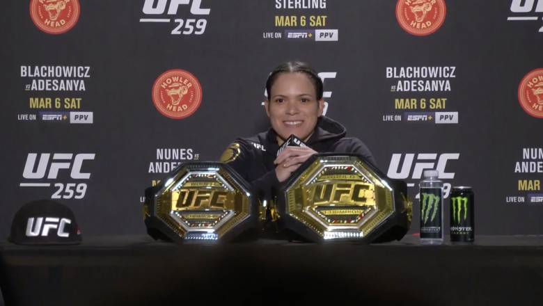 UFC Women's Bantamweight and Featherweight Champion Amanda Nunes Participates in a Post-fight Press Conference After Her Submission Victory At UFC 259 on March 6, 2021.
