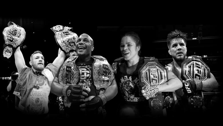 History of UFC Champ Champs featuring Randy Couture, BJ Penn, Georges St-Pierre, Conor McGregor, Daniel Cormier, Amanda Nunes and Henry Cejudo.