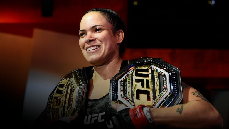 Amanda Nunes of Brazil reacts after her victory over Megan Anderson of Australia in their UFC featherweight championship fight during the UFC 259 event at UFC APEX on March 06, 2021 in Las Vegas, Nevada. (Photo by Chris Unger/Zuffa LLC)