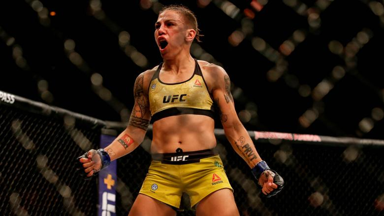 Jessica Andrade of Brazil celebrates after her knockout victory over Rose Namajunas of USA in their women's strawweight championship bout during the UFC 237 event at Jeunesse Arena on May 11, 2019 in Rio de Janeiro, Brazil. (Photo by Alexandre Schneider/Getty Images)