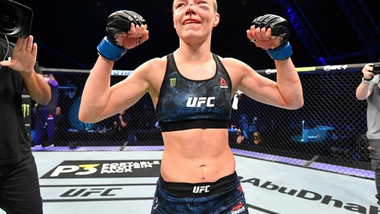 Rose Namajunas celebrates after her split-decision victory over Jessica Andrade of Brazil in their strawweight fight during the UFC 251 event at Flash Forum on UFC Fight Island on July 12, 2020 on Yas Island, Abu Dhabi, United Arab Emirates. (Photo by Jeff Bottari/Zuffa LLC)