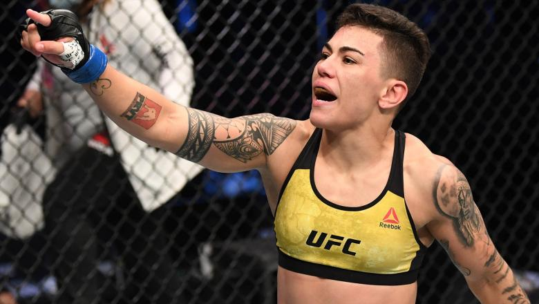Jessica Andrade of Brazil celebrates her TKO victory over Katlyn Chookagian in their women's flyweight bout during the UFC Fight Night event inside Flash Forum on UFC Fight Island on October 18, 2020 in Abu Dhabi, United Arab Emirates. (Photo by Josh Hedges/Zuffa LLC)