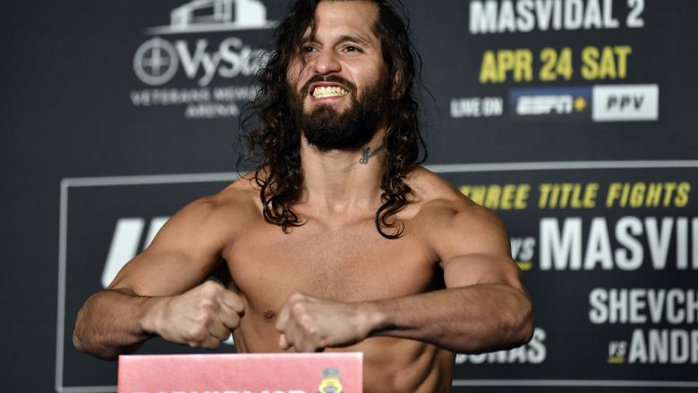 Jorge Masvidal poses on the scale during the official UFC 261 weigh-in at Omni Jacksonville Hotel on April 23, 2021 in Jacksonville, Florida. (Photo by Chris Unger/Zuffa LLC)