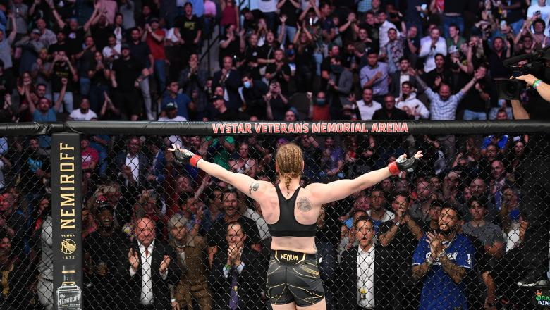 Valentina Shevchenko of Kyrgyzstan reacts after defeating Jessica Andrade of Brazil in their UFC women's flyweight championship bout during the UFC 261 event at VyStar Veterans Memorial Arena on April 24 2021 in Jacksonville Florida (Photo by Josh Hedges/Zuffa LLC)