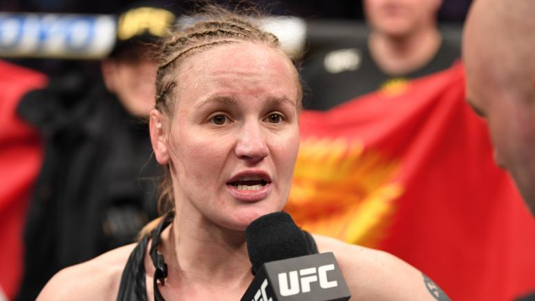 Valentina Shevchenko is interviewed by Joe Rogan after defeating Jessica Andrade n their women's flyweight championship bout during UFC 261 at Vystar Veterans Memorial Arena on April 24, 2021 in Jacksonville, Florida. (Photo by Josh Hedges/Zuffa LLC)