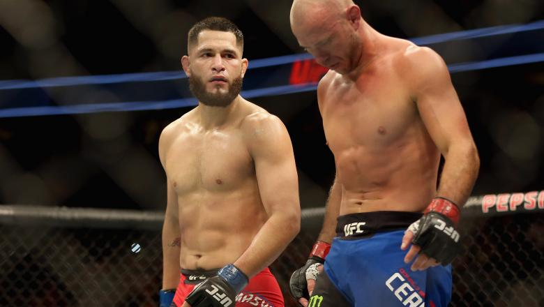 Jorge Masvidal (red trunks) defeats Donald Cerrone (blue trunks) in the Welterweight division during the UFC Fight Night at the Pepsi Center on January 28, 2017 in Denver, Colorado. (Photo by Matthew Stockman/Getty Images)