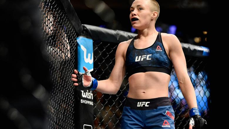 Rose Namajunas looks on during her UFC women's strawweight championship bout against Joanna Jedrzejczyk of Poland during the UFC 217 event at Madison Square Garden on November 4, 2017 in New York City. (Photo by Jeff Bottari/Zuffa LLC)