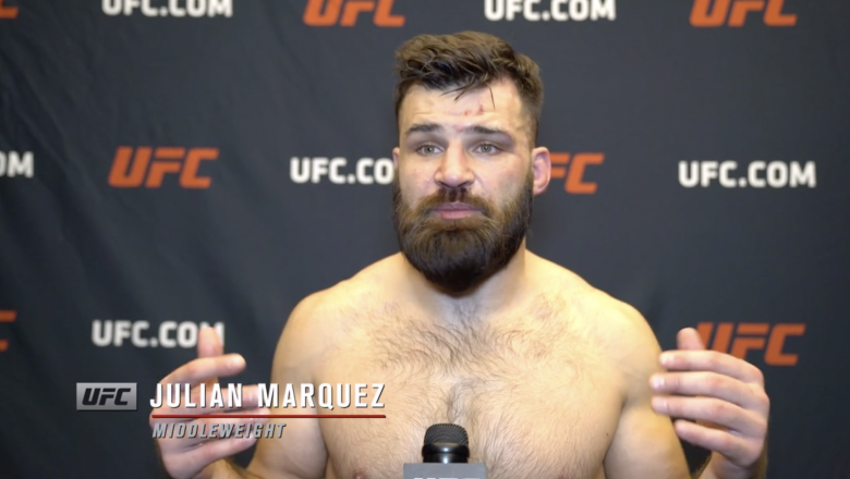 Julian Marquez reacts with UFC.com after his second-round submission victory over middleweight Sam Alvey at UFC Fight Night: Vettori vs Holland on April 10, 2021.