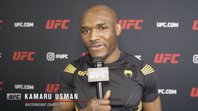 UFC welterweight champion Kamaru Usman reacts with UFC.com after his TKO victory over Jorge Masvidal at UFC 261: Usman vs Masvidal 2 on April 24, 2021