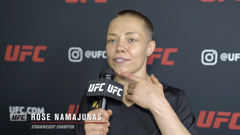 UFC strawweight champion Rose Namajunas reacts with UFC.com after her TKO victory over Zhang Weili at UFC 261: Usman vs Masvidal 2 on April 24, 2021