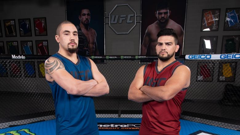 Robert Whittaker and Kelvin Gastelum pose for a portrait during the filming of The Ultimate Fighter: Heavy Hitters on July 13, 2018 in Las Vegas, Nevada. (Photo by Jeff Bottari/Zuffa LLC/Zuffa LLC via Getty Images)