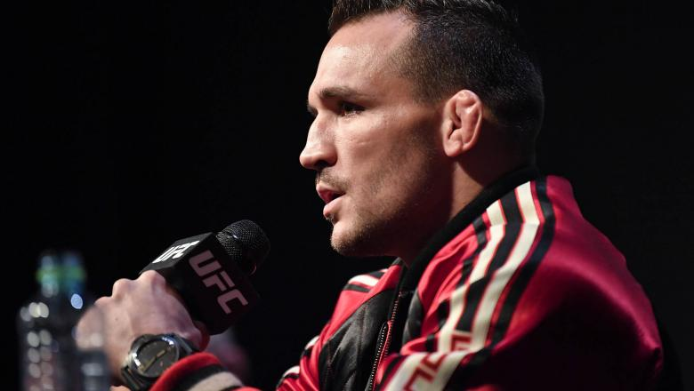 Michael Chandler interacts with media during the UFC 257 Press Conference inside Etihad Arena on UFC Fight Island on January 20, 2021 in Yas Island, Abu Dhabi, United Arab Emirates. (Photo by Chris Unger/Zuffa LLC)