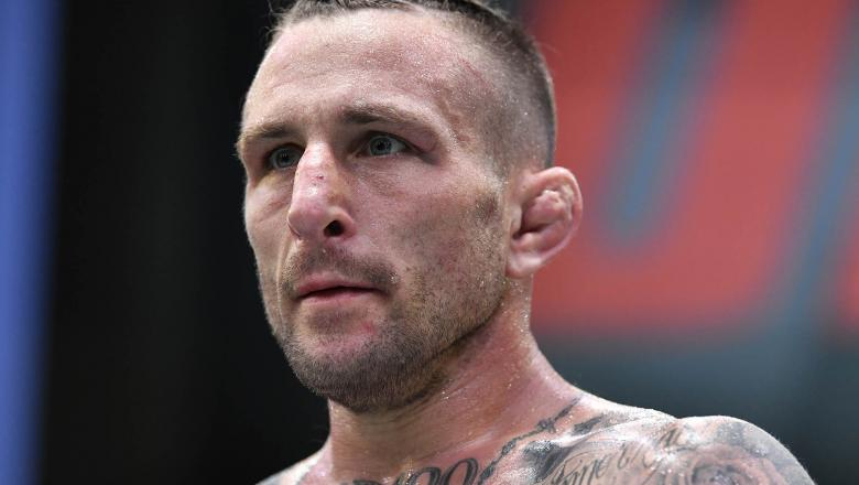 Gregor Gillespie reacts after his TKO victory over Diego Ferreira of Brazil in a lightweight fight during the UFC Fight Night event at UFC APEX on May 08, 2021 in Las Vegas, Nevada. (Photo by Chris Unger/Zuffa LLC)