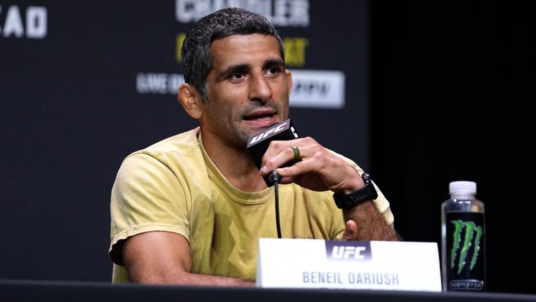 Beneil Dariush interacts with media during the UFC 262 press conference at George R. Brown Convention Center on May 13, 2021 in Houston, Texas. (Photo by Josh Hedges/Zuffa LLC)